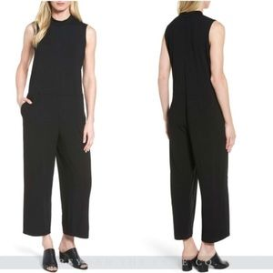 Eileen Fisher Wide Leg Jersey Jumpsuit Black Sz M